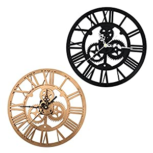 SING F LTD Iron Classic Roman Numeral Steampunk Wall Clock Living Room Décor Black/Gold