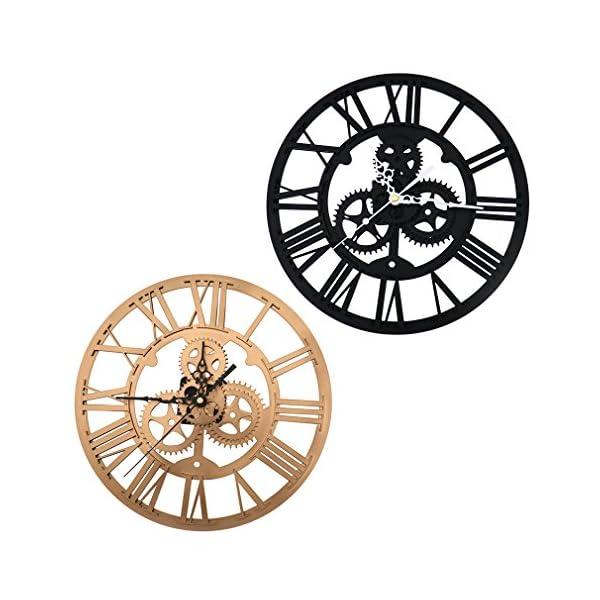 SING F LTD Iron Classic Roman Numeral Steampunk Wall Clock Living Room Décor Black/Gold 3