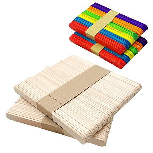 KISEER Craft Sticks, 400 Pcs 4.5 Inch Length Wood Popsicle Sticks for Crafts, Family Fun, DIY Handmade Ornament (200 Pcs Natural Wood, 200 Pcs Colored)]()