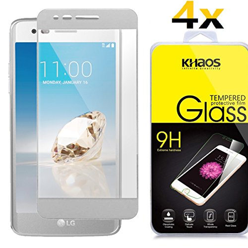 [4-Pack] Khaos for LG Phoenix 3 [Full Coverage ] HD Clear Tempered Glass Screen Protector with Lifetime Replacement Warranty - Phoenix Shield