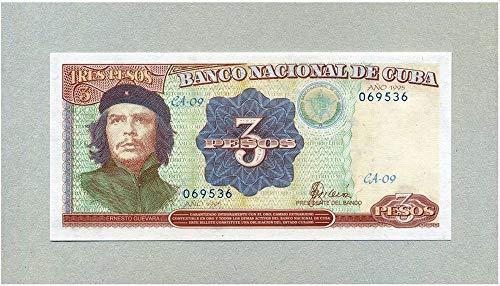 One Peso Note - 1995 CU GEM UNCIRCULATED 1995 MULTI-COLOR CUBA CHE GUEVARA BANKNOTE! #1 HOTTEST CUBA COLLECTIBLE! 3 PESOS Germ Crisp Uncirculated