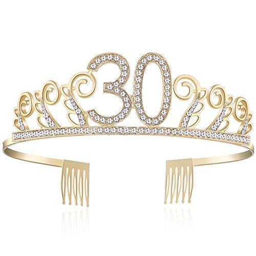 BABEYOND Crystal Birthday Tiara Rhinestone Princess Crown Happy Birthday Crowns Silver Diamante Happy 18/20/21/30/40/50/60/90th Birthday (Gold-30th) ()