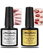 Allenbelle Base & Top coat Smalto Semipermanente Nail Polish UV LED Gel Unghie (Kit di 2pcs 7.3ML/pc) 011