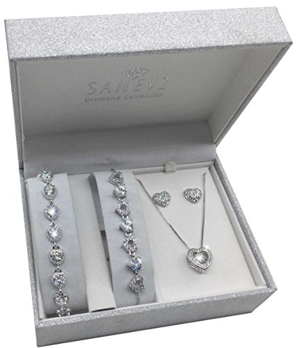 Silver Heart Jewelry Gift Set (2 Bracelets, Necklace & Earrings) for Her Women Girls Wife Ladies Birthday