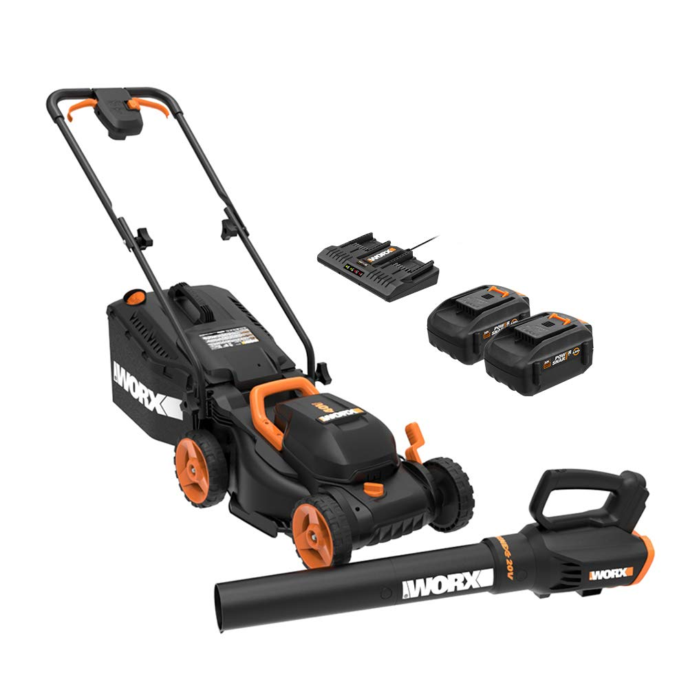 WORX WG958 14-inch 40V (4.0AH) WG779 Cordless Lawn Mower and WG547.9 Power Share Cordless Turbine Blower Battery and Charger Included