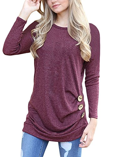 Flywm Women's Casual Long Sleeve Crew Neck Button Decor T Shirt Tunic Top Loose Blouse(L, Wine Red)