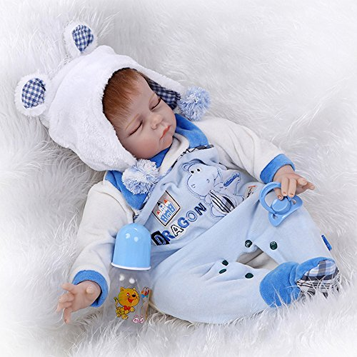 Realistic Sleeping Reborn Baby Doll Boy Silicone Light Blue Outfit with Hippo Pattern 22 Inches