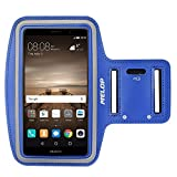 MELOP Armband for Huawei Mate 9 8 lite, Ascend Mate 7, Honor 5X 5C, Honor 6 7 8 6+ plus, P10 plus P9 P8 lite Soft Sweat Resistant Sports Gym Arm Band with Key Holder and Card / Cash Pocket - Blue