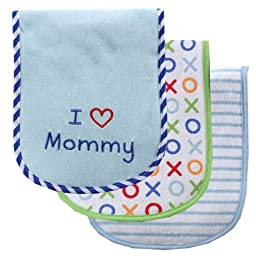 Luvable Friends I Love Mommy and Daddy Baby Burp Cloths, Blue Mommy, 3-Count
