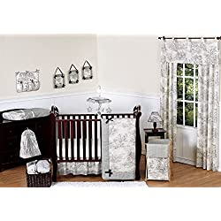 Sweet Jojo Designs Black French Toile Baby girls Bedding 11 piece Crib Set without bumper