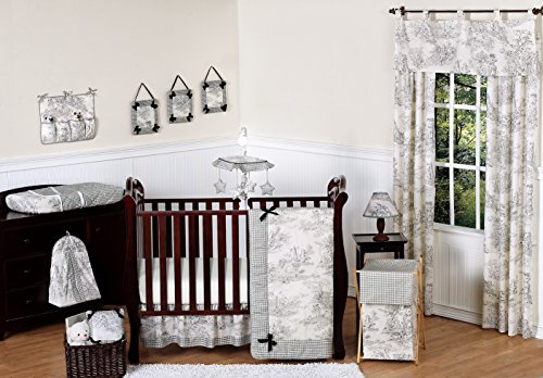 Black French Toile Baby Boy or girls Unisex Bedding 11pc Crib Set without bumper