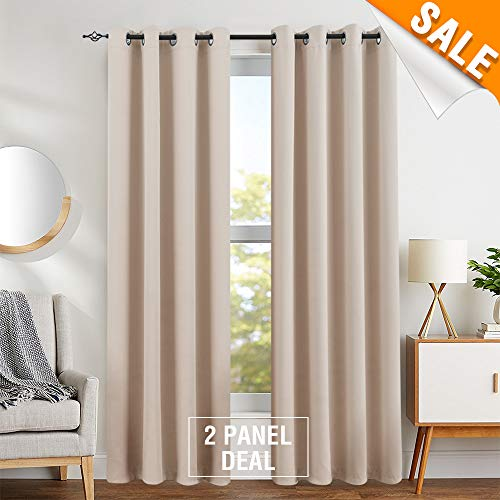 Lignt Filtering Save On Cooling Cost Curtains for Bedroom Curtains for Living Room Grommet Top Triple Weave Light Blocking Window Covering 2 Panels 95 Inch Beige (Light Blocking Curtains Beige)