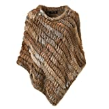 Best Fur Coats - Ferand Ladies Genuine Knitted Rabbit Fur Poncho Cape Review