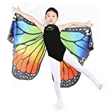 Dance Fairy Monarch Butterfly Wings Cape Dance Costume for Kids/Adult (Rainbow-Hand Wings)