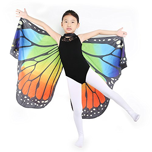 Dance Fairy Monarch Butterfly Wings Cape Dance Costume for Kids/Adult (Rainbow-Hand Wings) -