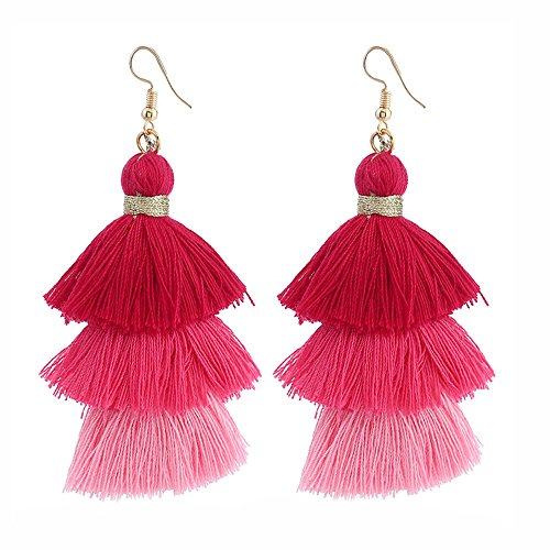 〓Londony〓 Colorful Layered Tassel Earrings Bohemian Dangle Drop Tiered Tassel Druzy Stud Earrings Gifts for Women Girls
