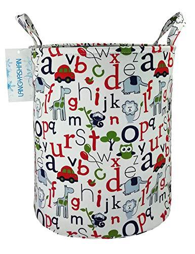 Alphabet Baby Clothes - Storage Bin,Cotton Collapsible Organizer Basket for Girls Laundry Hamper,Toy Bins,Gift Baskets, Bedroom, Clothes,Baby Nursery (Alphabet)
