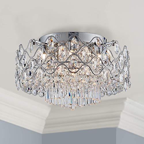 (Modern Elegent Crystal Ceiling Light Drum Chandelier 9 Light Chrome Flushmount LED Lighting Fixture Dia 19 in x H 17 in)