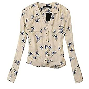 VESNIBA Women ''s Fashion Elegant Bird Print Blouse Long Sleeve Casual Slim Shirts (L, beige)