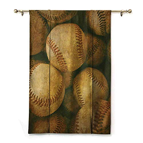 DONEECKL Insulated Sunshade Roman Curtains Vintage Decor Collection Vintage Baseball Backgorund American Sports Theme Nostalgic Leather Retro Balls Artwork Children's Bedroom Curtain W23 xL64 Brown