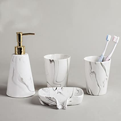 Amazon Com Marble Design 4 Piece Bathroom Accessories Set Ceramic