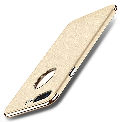 New Design Pu Leather - iPhone 7 Plus Case, Wellerly Ultra Slim Full Protective Hard Cover Anti-Scratch Shockproof Electroplate Frame New Design PU Leather Coated Surface Excellent Grip Case for iPhone 7 Plus 5.5inch(Gold)