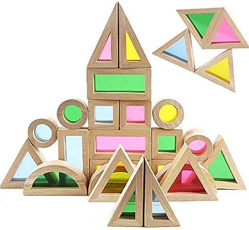 Agirlgle Wood Building Blocks Set for Kids 24 Piece Rainbow Stacker