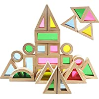 Agirlgle Wood Building Blocks Set for Kids 24 Pcs Rainbow Stacker Stacking Game Construction Building Toys Set Preschool…