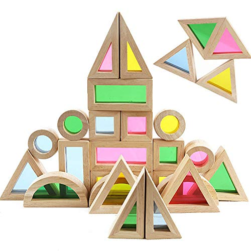 Agirlgle Wood Building Blocks Set for Kids 24 Pcs Rainbow Stacker Stacking Game Construction Building Toys Set Preschool Colorful Learning Educational Toys - Geometry Wooden Blocks for Boys & Girls ()