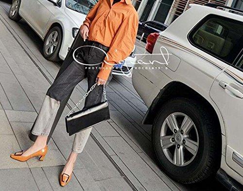 Talla Rojo Negro de Negros Tamaño Color para Mujeres Cuadrados Tacón Zapatos Amarillo Zapatos Amarillo 34 39 34 bajo xgUPAwRnq