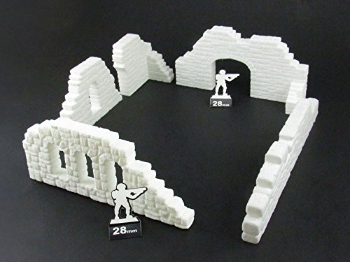 Ruined Stone Walls Set A, Terrain Scenery for Tabletop 28mm - Import