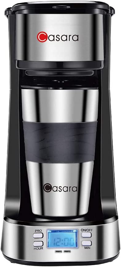 Casara Single Serve Coffee Maker- with Programmable timer and LCD display, Single Cup Coffee Maker with 14 oz. Double-wall Stainless Steel Travel Mug and Reusable Filter,3 In 1 Personal Coffee Maker