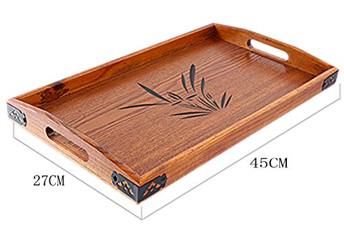 (BandTie Solid Wood Serving Tray,Wooden Tray for Tea/Coffee/Wine/Food-Used As Rectangular Wooden Platter/Decorative Tray/Breakfast Tray/Party Platter/Nesting/Kitchen and Dining with Handles,Large Size )