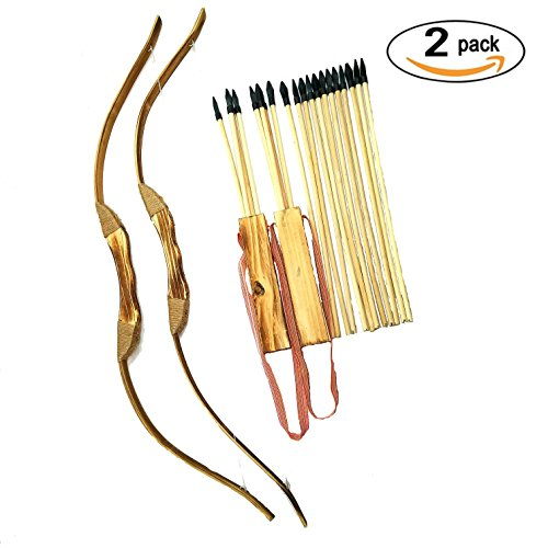 Adventure Awaits - 2-Pack Handmade Wooden Bow and Arrow Set - 20 Wood Arrows and 2 Quivers - For Outdoor (Toy Bow And Arrow Set)