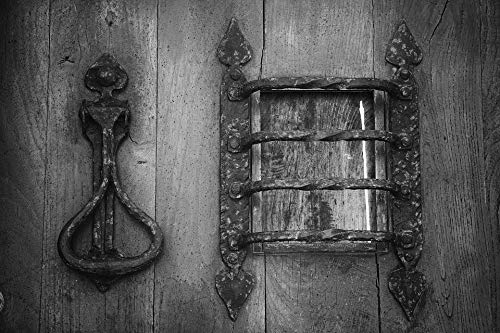 Home Comforts Canvas Print Wrought Iron Forged Knocker Door Wooden Door Metal Vivid Imagery Stretched Canvas 32 x 24