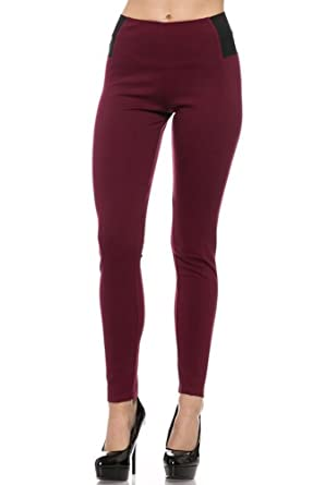 3d9a40034fb8f Women's Premium High Waist Leggings With Elastic Side Details (Large, Wine)  at Amazon Women's Clothing store: