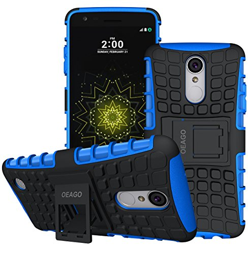 For LG Aristo Case, LG Rebel 3 LTE Case, LG Phoenix 3 Case, LG Fortune Case, LG Risio 2 Case, LG Rebel 2 LTE Case, LG K8 2017 Case, OEAGO Tough Rugged Dual Layer Protective Case with Kickstand (Blue)