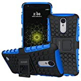 LG K4 2017 Case, OEAGO LG K4 2017 Case [Shockproof] [Impact Protection] Tough Rugged Dual Layer Protective Case with Kickstand for LG K4 (2017) - Blue