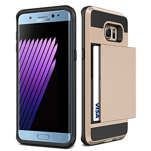 Galaxy S6 Edge Plus Case,JOBSS [Card Pocket] Shockproof Dual Protective Shell Rubber Bumper with Card Holder Slot Wallet Case Cover Shell For Samsung Galaxy S6 Edge Plus G928 (Dual Pocket Carrying Case)