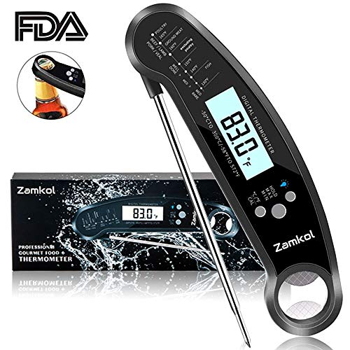 Digital Cooking Thermometer, Zamkol Meat Thermometer for Grilling Waterproof Function lnstant Read Thermometer with Calibration and Blacklight Function for Food, BBQ, Grill, Tea,Milk