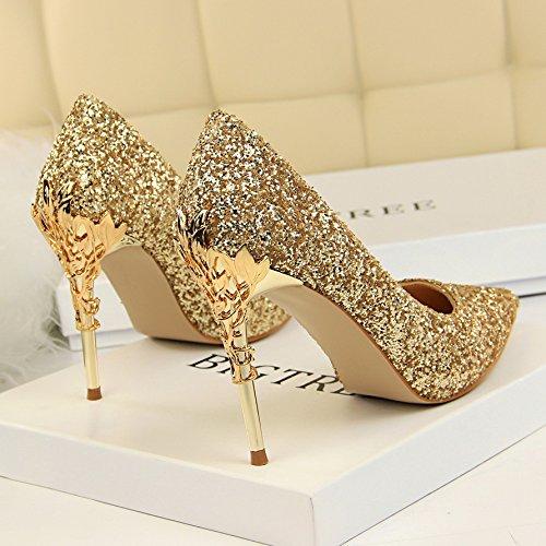 fine tacchi pelle con di Calzature 35 alti in Golden scarpe Argento gradiente donna Calzature di Xue i punta con singolo matrimonio con madre cristallo Qiqi qw6nvxCZt