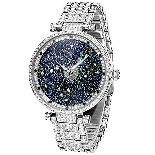 Filled Watch Band - PB StarrySky Luxury Watch Women Premium Austria Diamond Crystal Accented & Platinum Plated Stainless Steel Watch Band, Bling Crystal Watch for Women Silver Tone, Ladies Wrist Watches Japanese Quart
