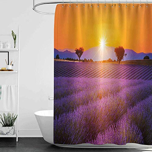Shower Curtains Purple and Green Lavender,Idyllic Summer Sunset Landscape with Fresh Field and Trees Valensole France,Lavander Orange W72 x L72,Shower Curtain for Women (The Green Fields Of France The High Kings)