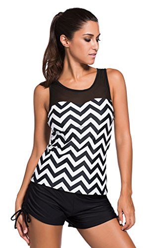 Windowpane Women Active Yoga Running Racerback Top With Boyleg Swim Short US 8-10 Wave