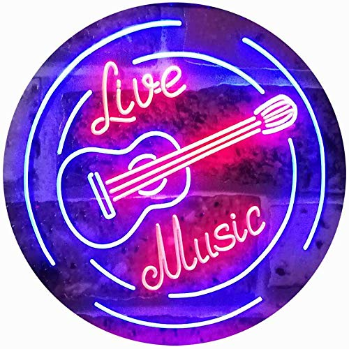 (ADVPRO Live Music Guitar Band Room Studio Dual Color LED Neon Sign Red & Blue 16 x 12 Inches st6s43-i2546-rb)