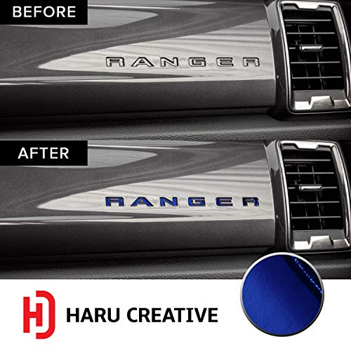 - Haru Creative - Dashboard Glove Box Letter Insert Overlay Vinyl Decal Sticker Compatible with and Fits Ford Ranger 2019 - Chrome Blue