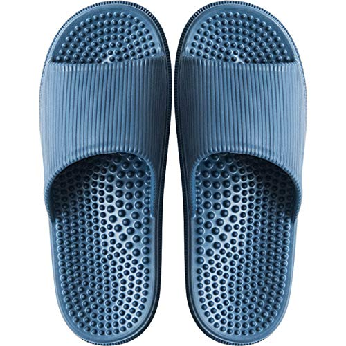 Deerway Acupressure Massage Slippers Therapeutic Reflexology Sandals for Foot Acupoint Massage Shiatsu Arch Pain Relief Non-Slip Bath Shower (9.5-10 W US Women/8.5-9 W US Men, Navy Blue)