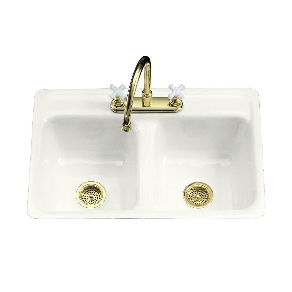 KOHLER K-5950-4-0 Delafield Tile-In and Metal Frame Kitchen Sink ...