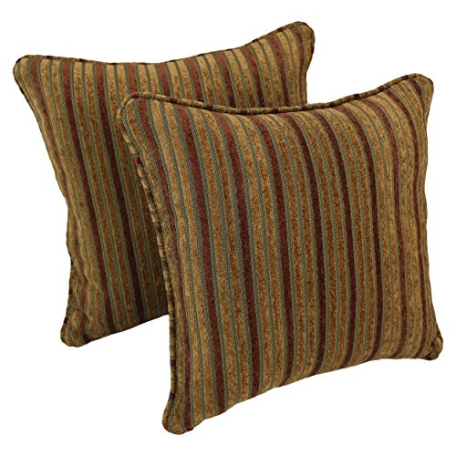 Blazing Needles Double-Corded Square Patterned Jacquard Chenille Throw Pillows with Inserts Set of 2 , 18 , Autumn Stripes