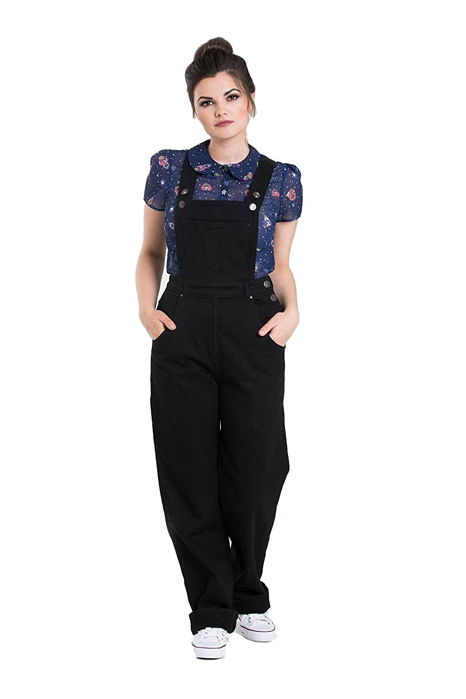 1950s Pants History for Women Hell Bunny Ella May Denim Dungarees £47.99 AT vintagedancer.com